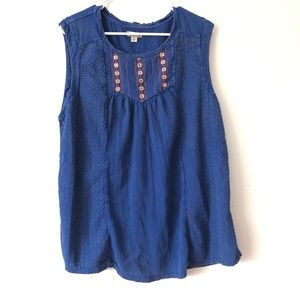 Lucky Brand Boho Embroidered Beaded Tank Top